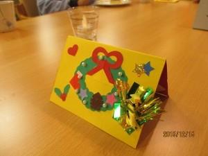 プレゼントに、手作りのクリスマスカードをプレゼントさせていただきました ^_^